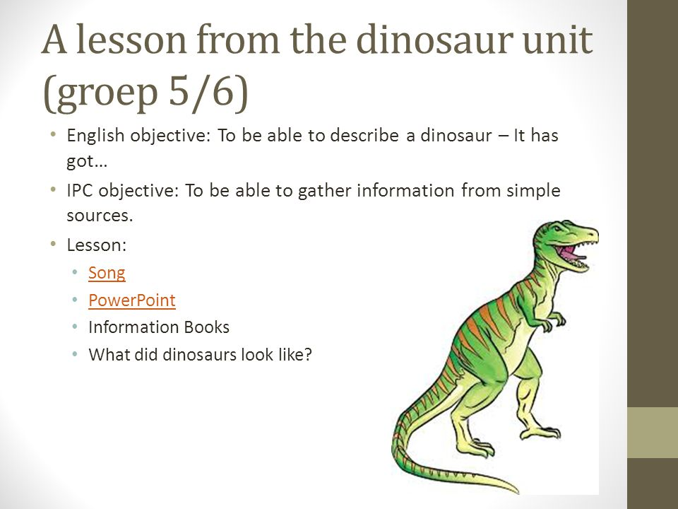 A lesson from the dinosaur unit (groep 5/6) English objective: To be able to describe a dinosaur – It has got… IPC objective: To be able to gather information from simple sources.