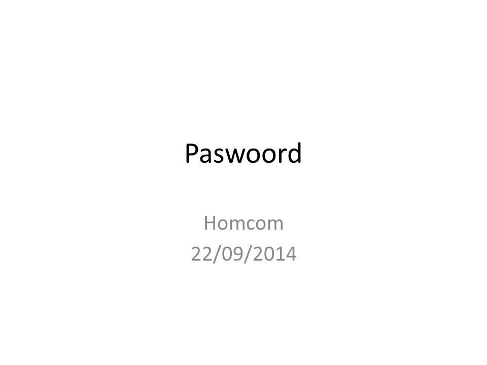 Paswoord Homcom 22/09/2014