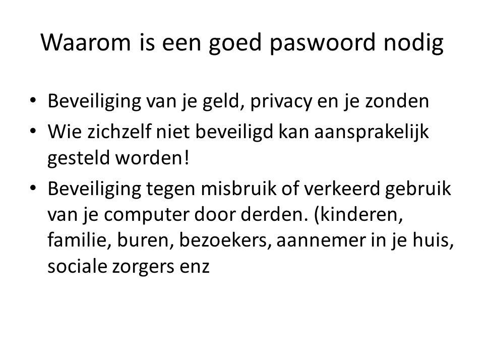 Waarom is een goed paswoord nodig Beveiliging van je geld, privacy en je zonden Wie zichzelf niet beveiligd kan aansprakelijk gesteld worden! Beveilig