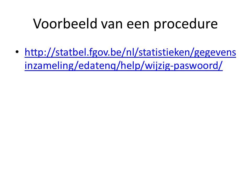 Voorbeeld van een procedure http://statbel.fgov.be/nl/statistieken/gegevens inzameling/edatenq/help/wijzig-paswoord/ http://statbel.fgov.be/nl/statist
