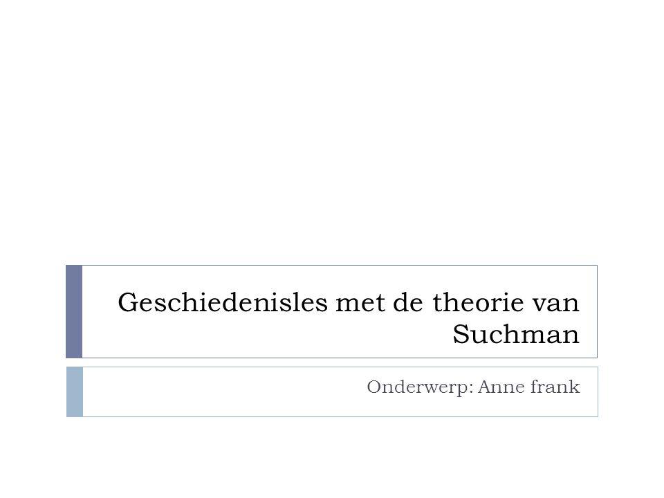 Geschiedenisles met de theorie van Suchman Onderwerp: Anne frank