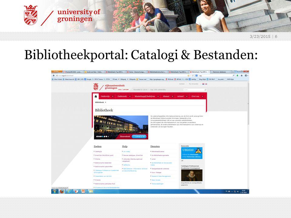 Bibliotheekportal: Catalogi & Bestanden: 3/23/2015 | 6
