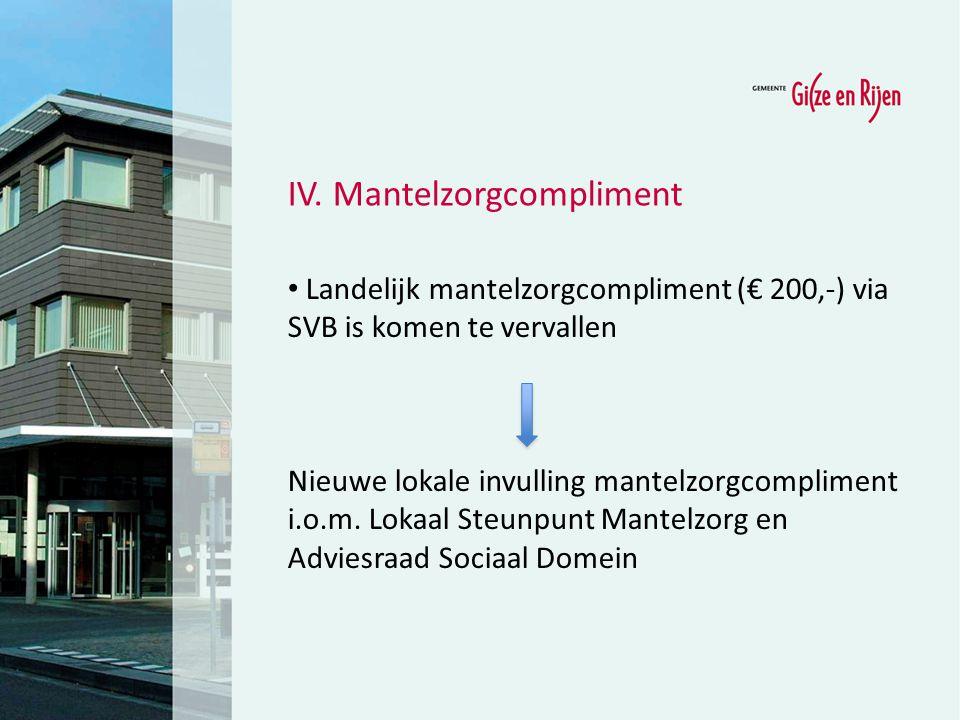 Landelijk mantelzorgcompliment (€ 200,-) via SVB is komen te vervallen Nieuwe lokale invulling mantelzorgcompliment i.o.m. Lokaal Steunpunt Mantelzorg