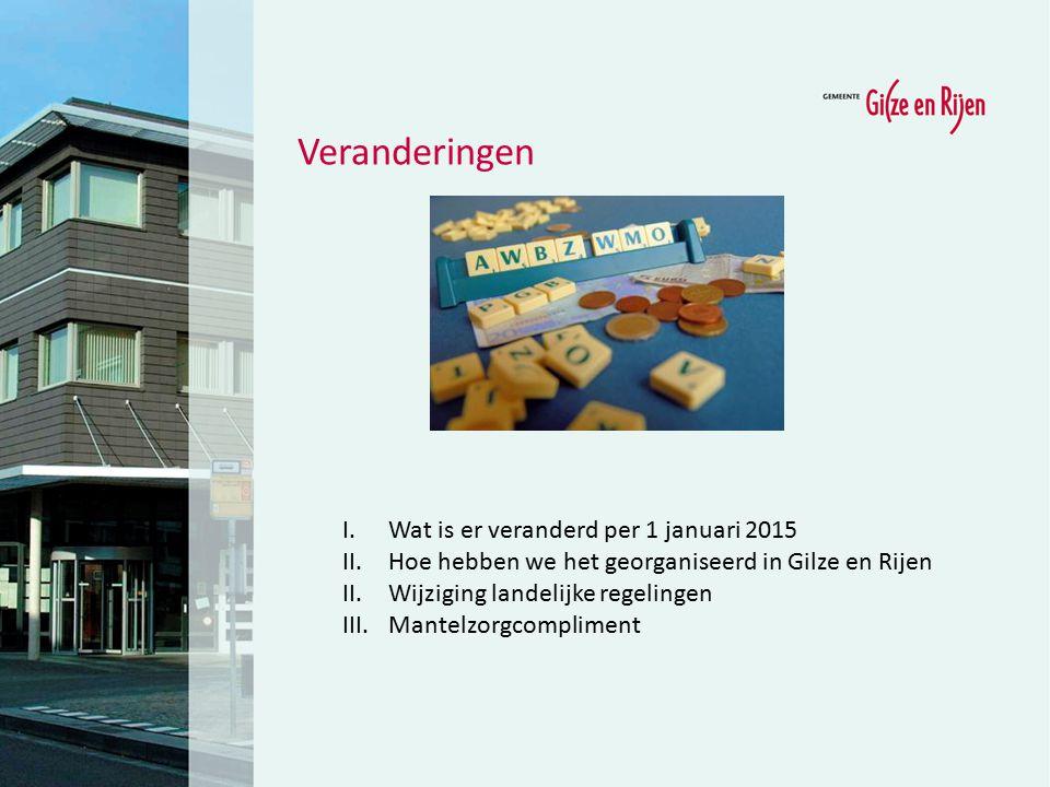 Veranderingen I.Wat is er veranderd per 1 januari 2015 II.Hoe hebben we het georganiseerd in Gilze en Rijen II.Wijziging landelijke regelingen III.Man