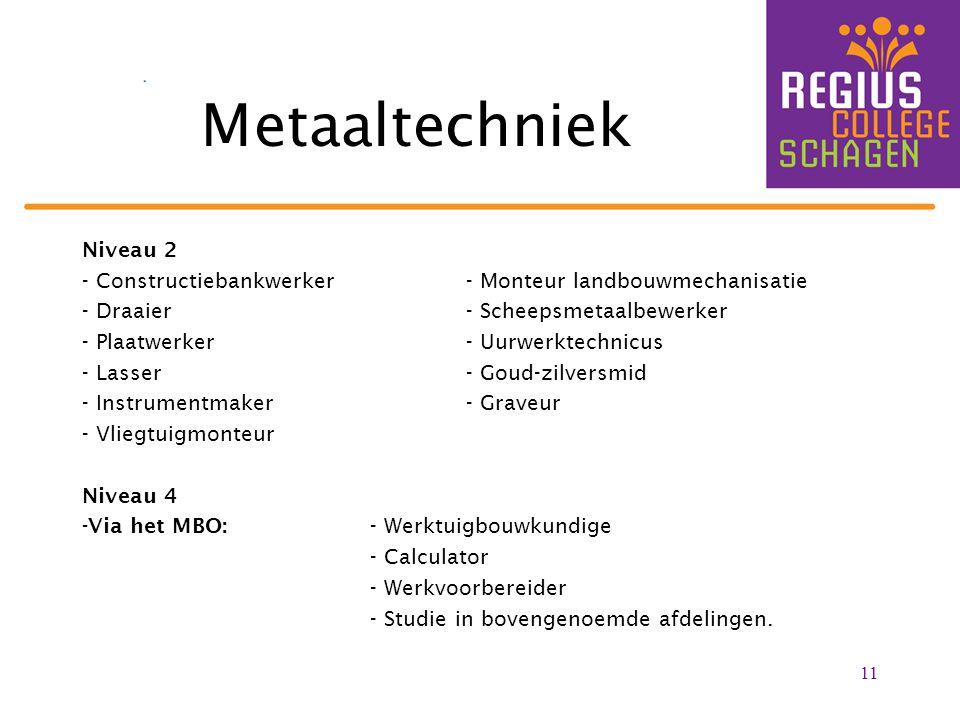 Metaaltechniek Niveau 2 - Constructiebankwerker- Monteur landbouwmechanisatie - Draaier- Scheepsmetaalbewerker - Plaatwerker- Uurwerktechnicus - Lasse