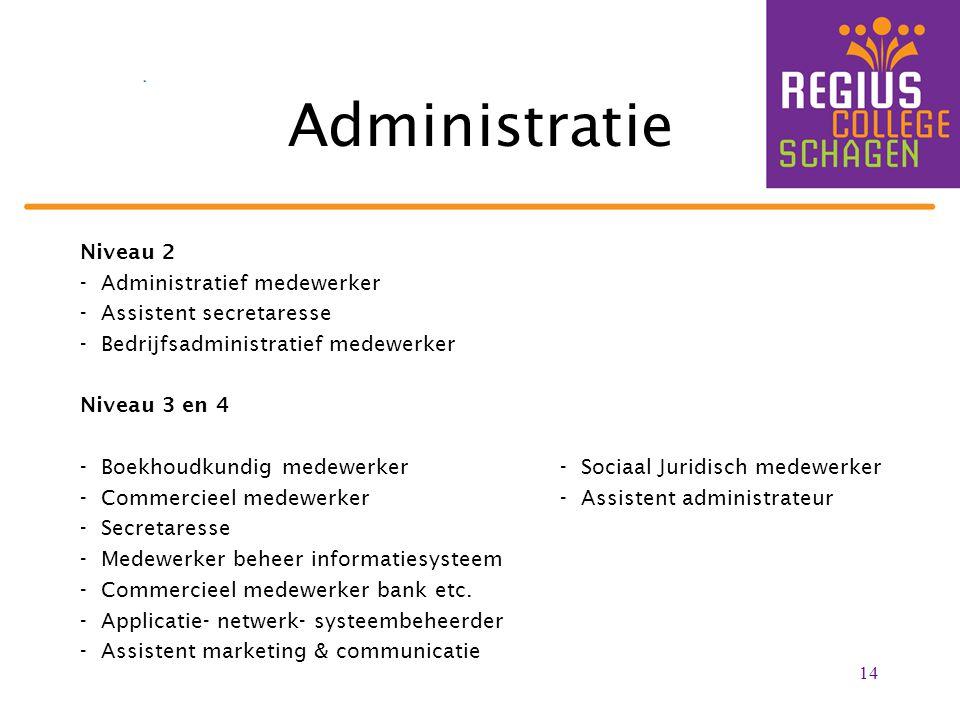 Administratie Niveau 2 - Administratief medewerker - Assistent secretaresse - Bedrijfsadministratief medewerker Niveau 3 en 4 - Boekhoudkundig medewer