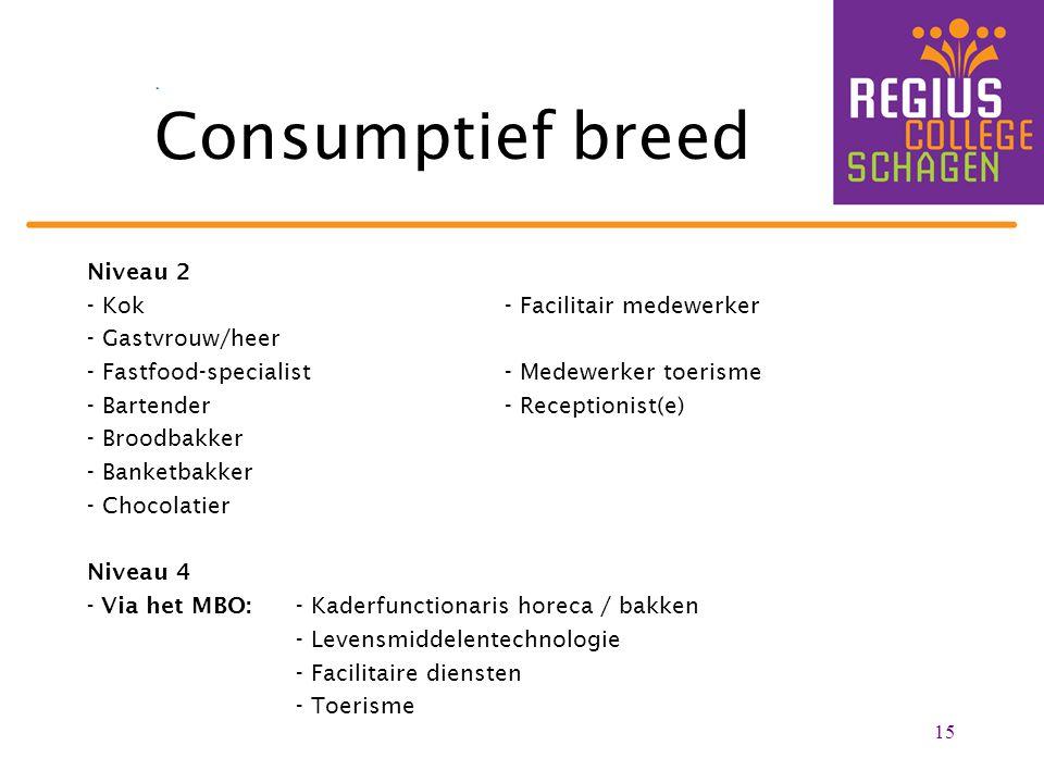 Consumptief breed Niveau 2 - Kok- Facilitair medewerker - Gastvrouw/heer - Fastfood-specialist- Medewerker toerisme - Bartender- Receptionist(e) - Bro
