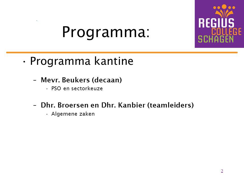 2 Programma: Programma kantine –Mevr. Beukers (decaan) PSO en sectorkeuze –Dhr. Broersen en Dhr. Kanbier (teamleiders) Algemene zaken