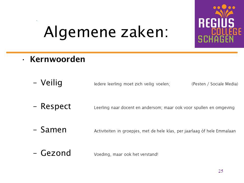 25 Algemene zaken: Kernwoorden –Veilig Iedere leerling moet zich veilig voelen; (Pesten / Sociale Media) –Respect Leerling naar docent en andersom; ma