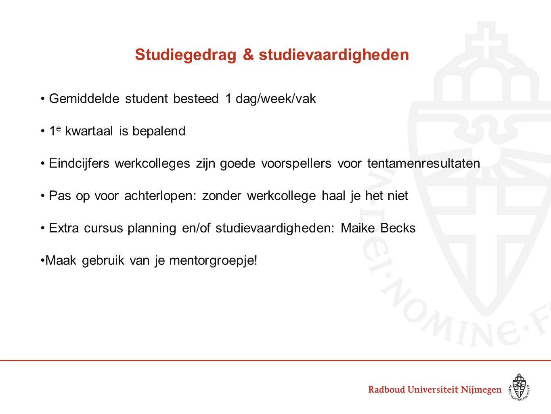 Studiegedrag & studievaardigheden Gemiddelde student besteed 1 dag/week/vak 1 e kwartaal is bepalend Eindcijfers werkcolleges zijn goede voorspellers