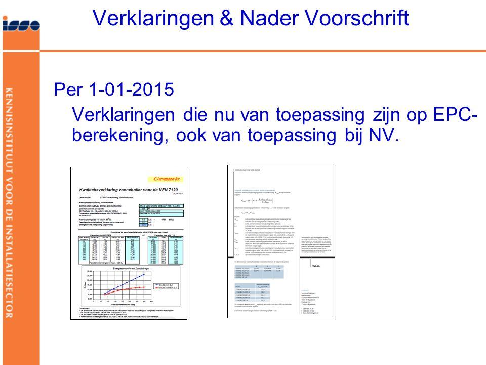 Verklaringen & Nader Voorschrift Per 1-01-2015 Verklaringen die nu van toepassing zijn op EPC- berekening, ook van toepassing bij NV.