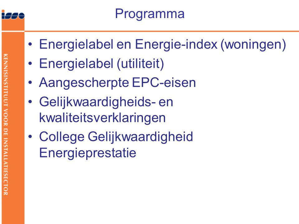 Energielabel en Energie-index (woningen) Energielabel (utiliteit) Aangescherpte EPC-eisen Gelijkwaardigheids- en kwaliteitsverklaringen College Gelijk