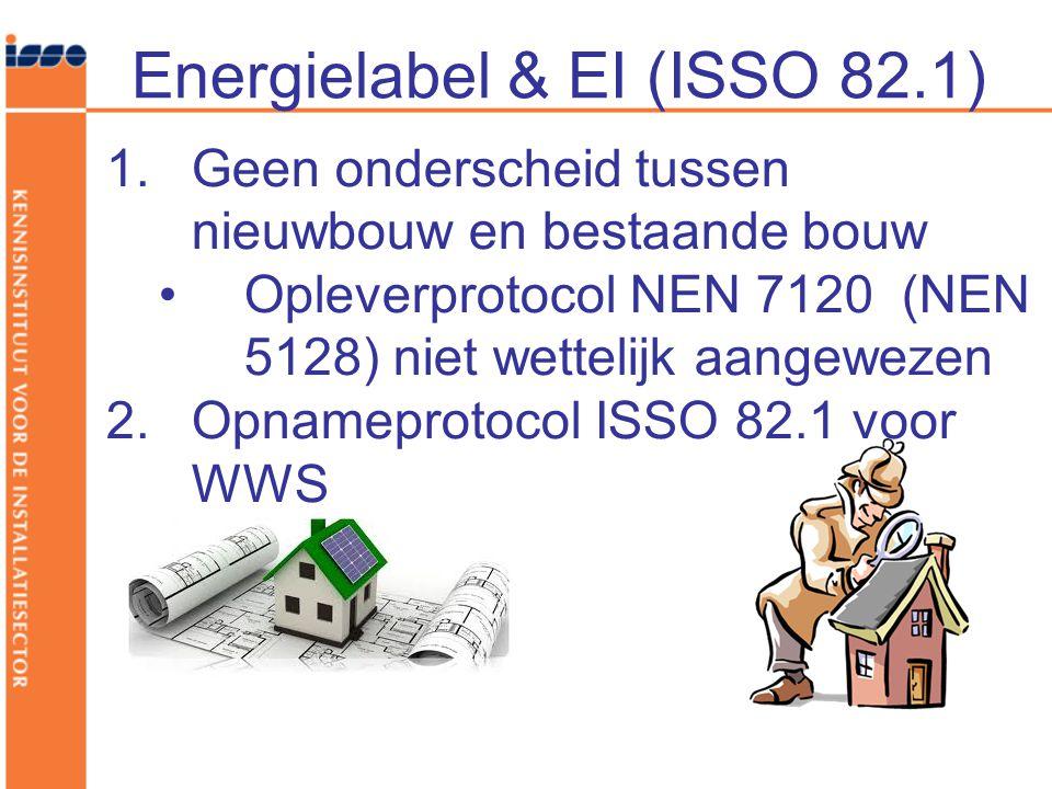 Energielabel & EI (ISSO 82.1) 1.Geen onderscheid tussen nieuwbouw en bestaande bouw Opleverprotocol NEN 7120 (NEN 5128) niet wettelijk aangewezen 2.Op