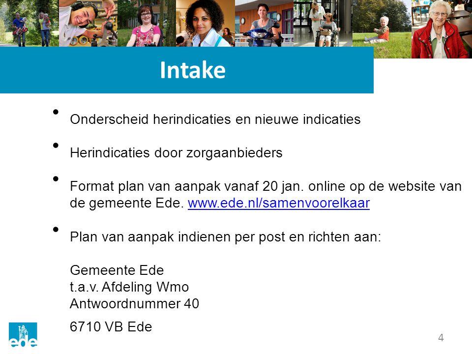 4 Intake Onderscheid herindicaties en nieuwe indicaties Herindicaties door zorgaanbieders Format plan van aanpak vanaf 20 jan.