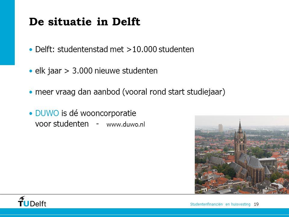 19 Studentenfinanciën en huisvesting De situatie in Delft Delft: studentenstad met >10.000 studenten elk jaar > 3.000 nieuwe studenten meer vraag dan