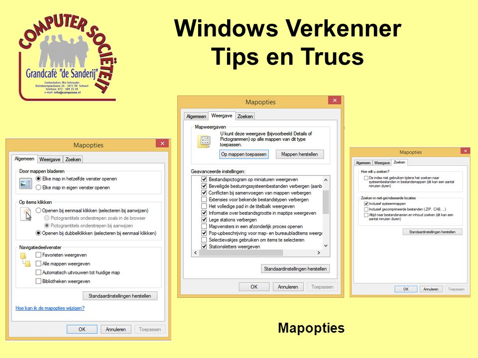 Windows Verkenner Tips en Trucs Mapopties