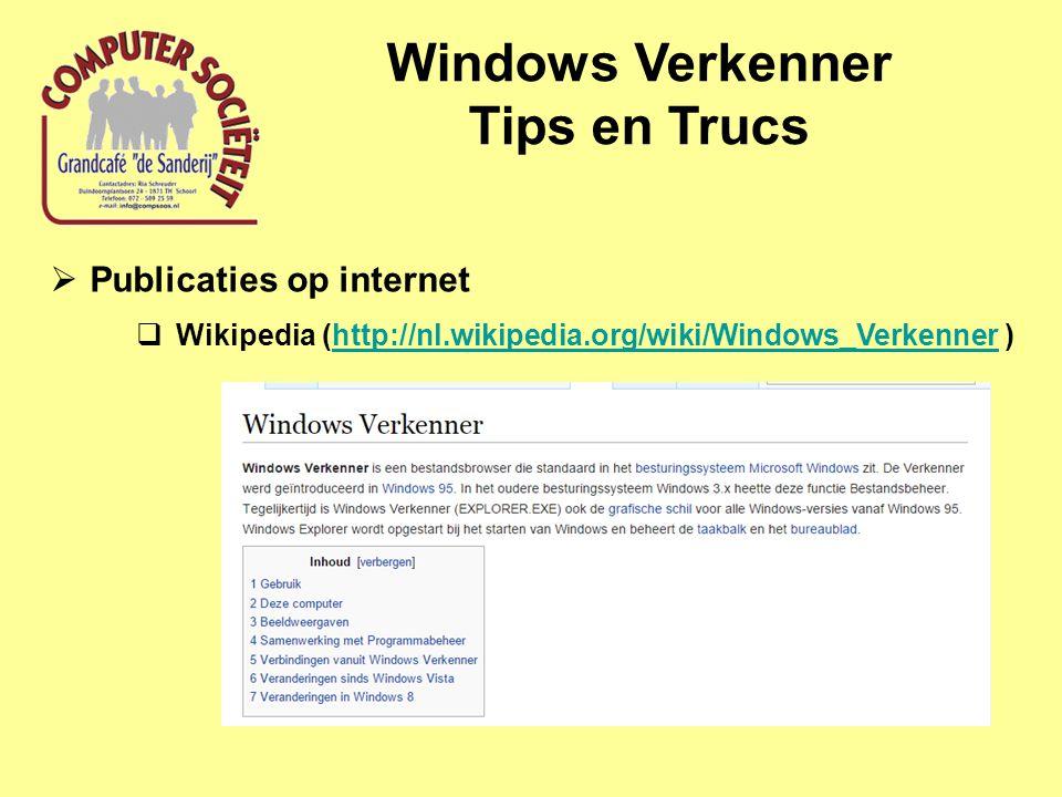 Windows Verkenner Tips en Trucs  Publicaties op internet  webcursus (http://www.gratiscursus.be/Windows_7/Windows_7_les009.