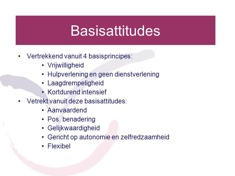 Basisattitudes Vertrekkend vanuit 4 basisprincipes: Vrijwilligheid Hulpverlening en geen dienstverlening Laagdrempeligheid Kortdurend intensief Vetrekt vanuit deze basisattitudes: Aanvaardend Pos.