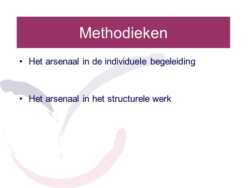 Methodieken Het arsenaal in de individuele begeleiding Het arsenaal in het structurele werk