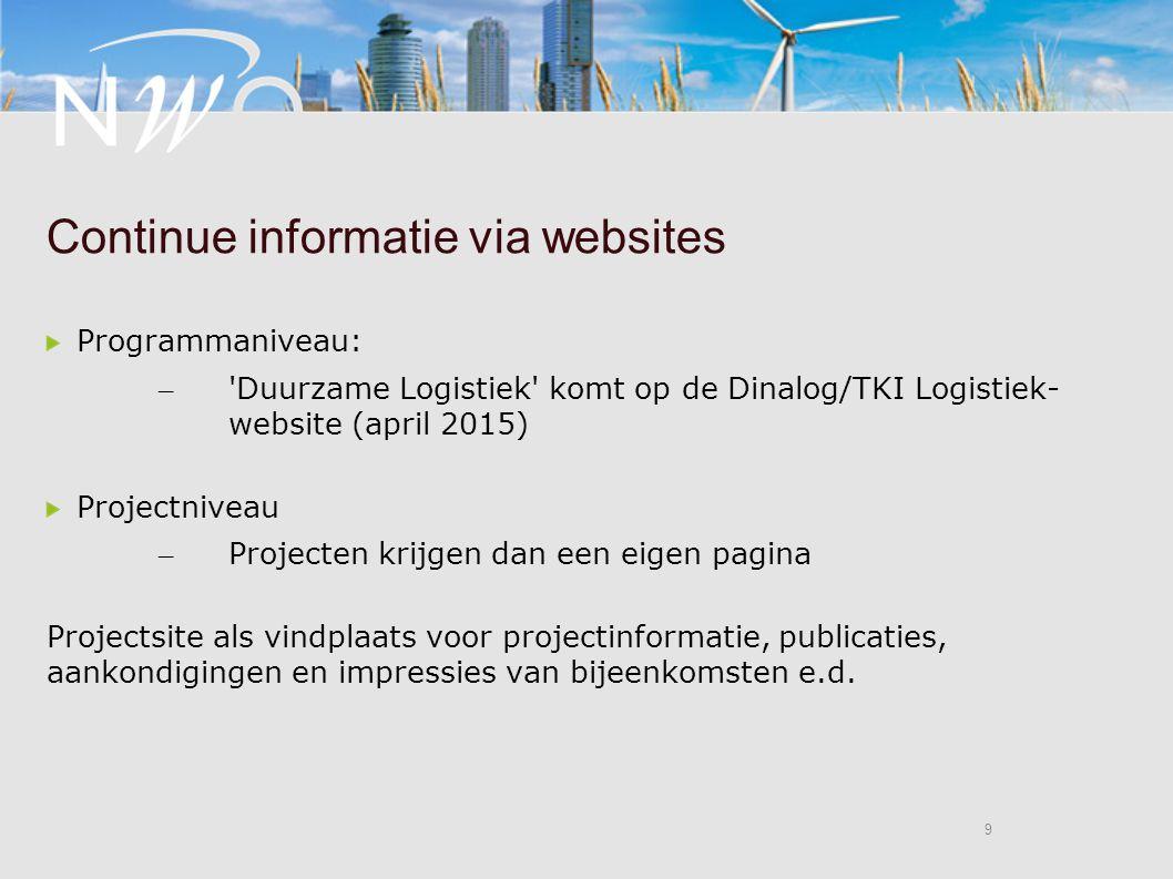 9 9 Continue informatie via websites Programmaniveau: – Duurzame Logistiek komt op de Dinalog/TKI Logistiek- website (april 2015) Projectniveau – Projecten krijgen dan een eigen pagina Projectsite als vindplaats voor projectinformatie, publicaties, aankondigingen en impressies van bijeenkomsten e.d.