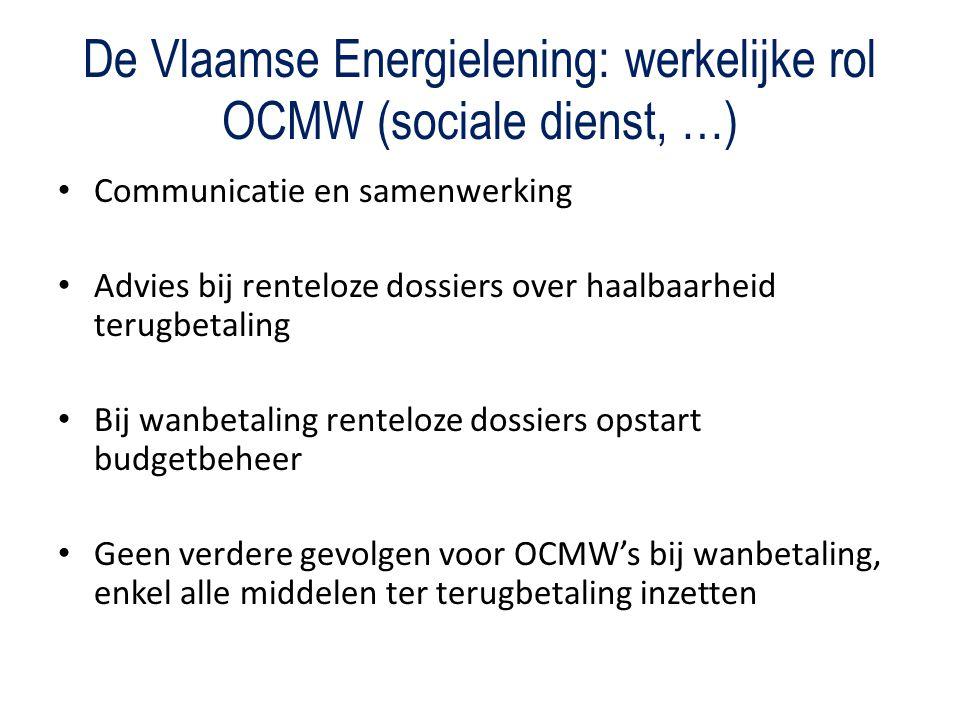 De Vlaamse Energielening: werkelijke rol OCMW (sociale dienst, …) Communicatie en samenwerking Advies bij renteloze dossiers over haalbaarheid terugbetaling Bij wanbetaling renteloze dossiers opstart budgetbeheer Geen verdere gevolgen voor OCMW's bij wanbetaling, enkel alle middelen ter terugbetaling inzetten