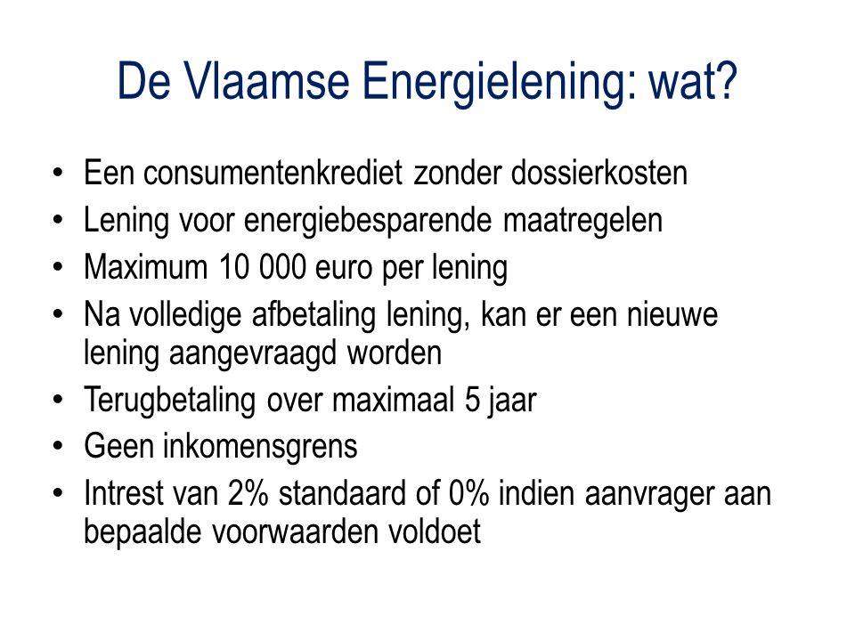 De Vlaamse Energielening: maatregelen Dakisolatie met aanvullende werken Muurisolatie Vloerisolatie Stookketel (gas, mazout, hout of warmtekrachtkoppeling) of decentrale HR+-kachels Ramen met hoogrendementsglas Thermostatische kranen of kamerthermostaat Energie-audit Zonneboiler Warmtepomp Installatie gasconvector (enkel via OCMW)