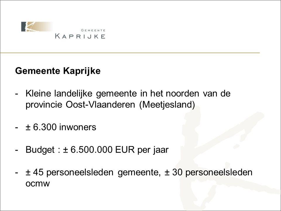 Gemeente Kaprijke -Kleine landelijke gemeente in het noorden van de provincie Oost-Vlaanderen (Meetjesland) -± 6.300 inwoners -Budget : ± 6.500.000 EUR per jaar -± 45 personeelsleden gemeente, ± 30 personeelsleden ocmw