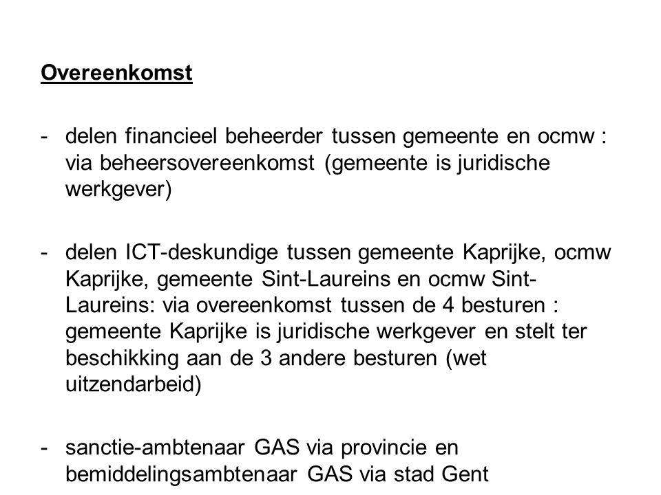 -gezamenlijk milieupark voor de gemeenten Kaprijke en Sint-Laureins in Bentille : -bestaand (recent) milieupark van de gemeente Sint-Laureins in het gehucht Bentille (dichtbij de grens tussen beide gemeenten) -destijds enkel groenpark in Kaprijke (plannen (RUP) voor eigen milieupark vernietigd door Raad van State) -onderhandelingen --- overeenkomst voor 5 jaar -inwoners Kaprijke krijgen toegang tot (betalend) milieupark Sint- Laureins -permanent overleg over de werking via stuurgroep -Kaprijke betaalt jaarlijks 1/2 de in de vaste kosten + variabele kosten (na aftrek van de opbrengsten) worden gedeeld volgens aantal inwoners (= ± 120.000 EUR/jaar voor Kaprijke) -gesprekken lopende voor een meer structurele samenwerking op langere termijn