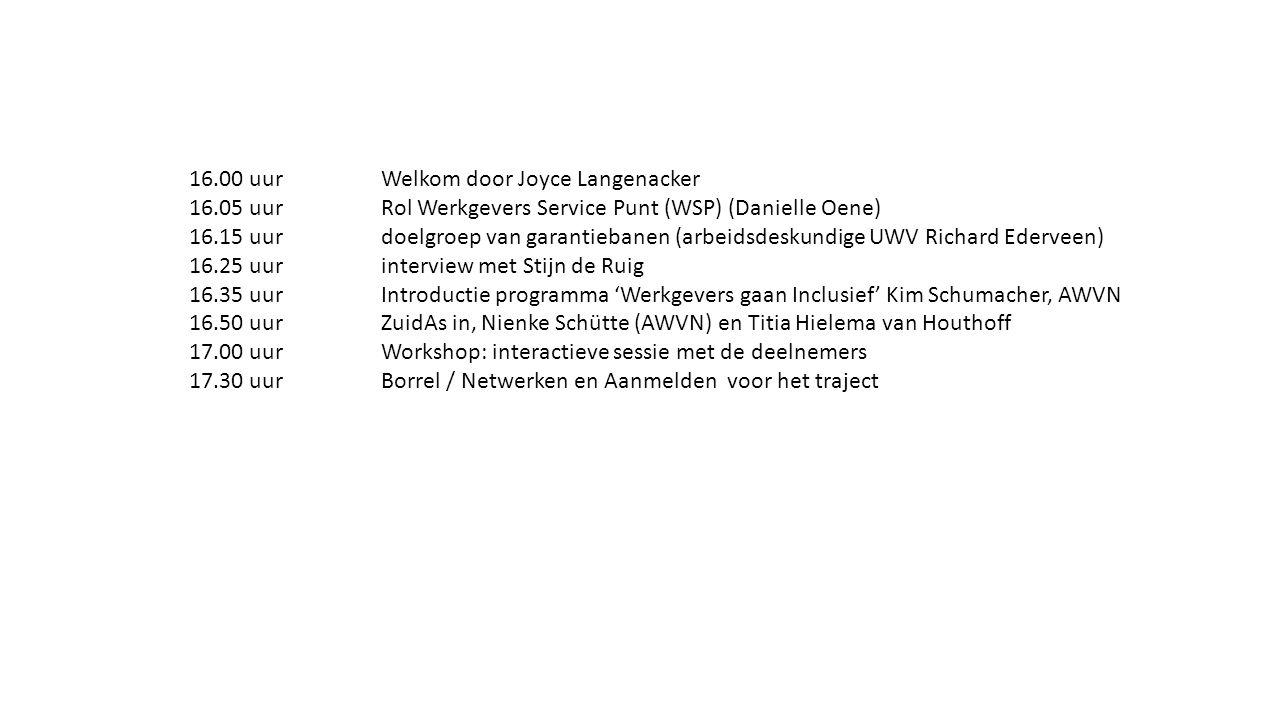 16.00 uurWelkom door Joyce Langenacker 16.05 uurRol Werkgevers Service Punt (WSP) (Danielle Oene) 16.15 uurdoelgroep van garantiebanen (arbeidsdeskund