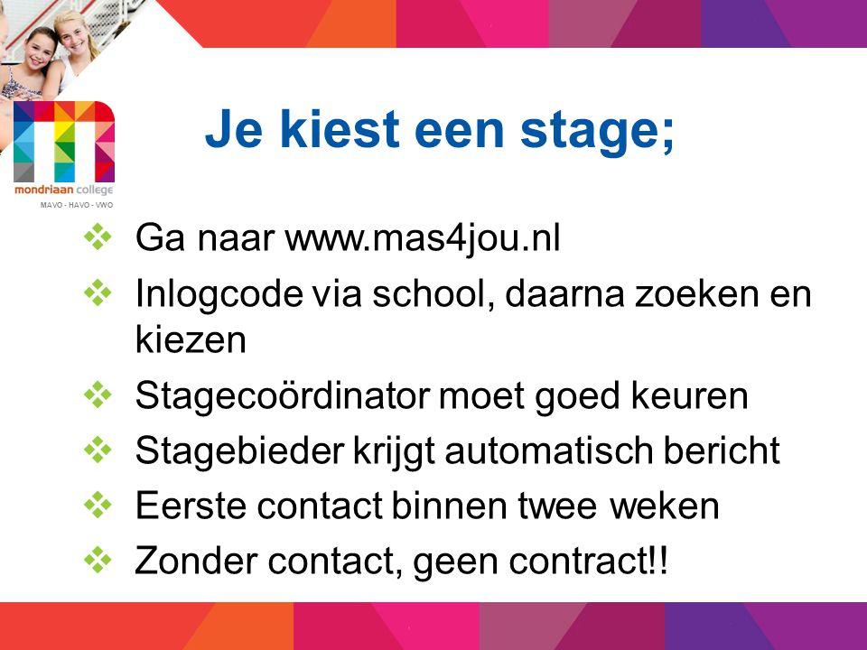 MAVO - HAVO - VWO Na het eerste contact; - Ondertekening contract binnen twee weken door de stagebieder, ouders.