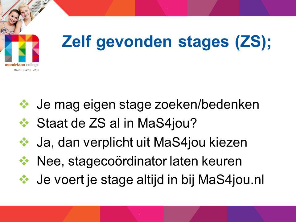 MAVO - HAVO - VWO Invoeren zelf gevonden stage  Ga naar www.mas4jou.nl  Inlogcode via school, daarna invoeren  Stagecoördinator moet goed keuren  Stagebieder krijgt automatisch bericht  Eerste contact binnen twee weken  Zonder contact, geen contract!!