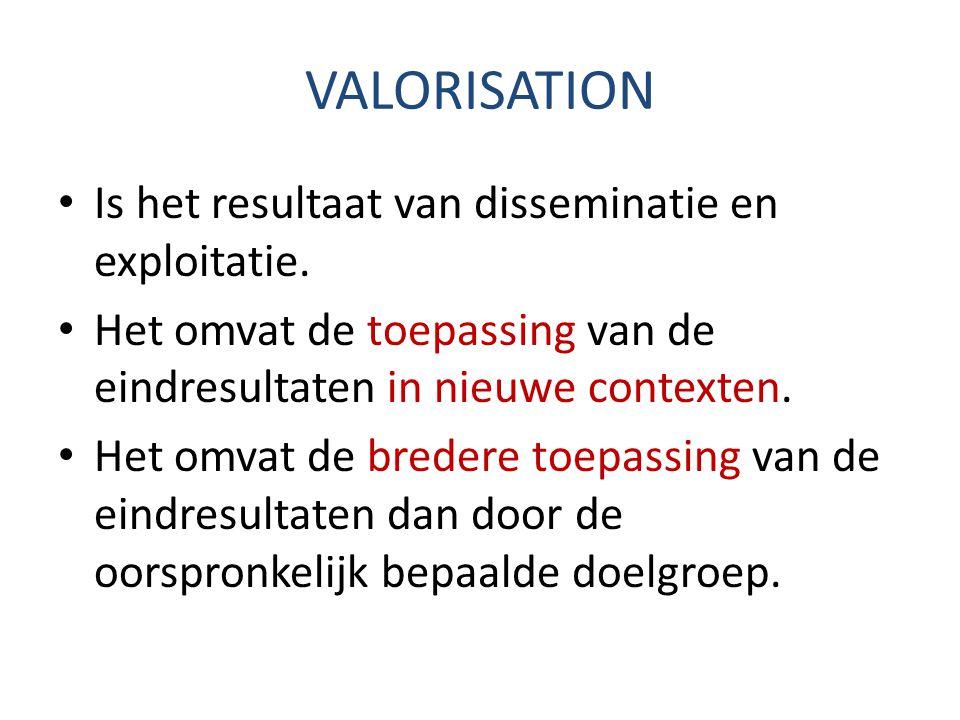 VALORISATION Is het resultaat van disseminatie en exploitatie.