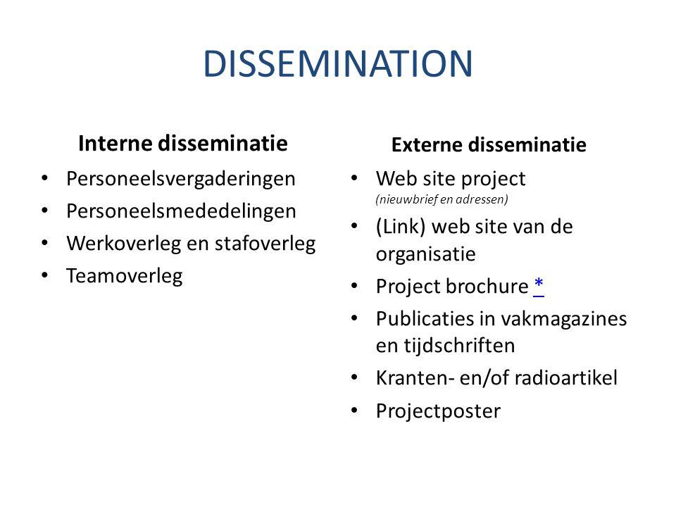 DISSEMINATION Interne disseminatie Personeelsvergaderingen Personeelsmededelingen Werkoverleg en stafoverleg Teamoverleg Externe disseminatie Web site