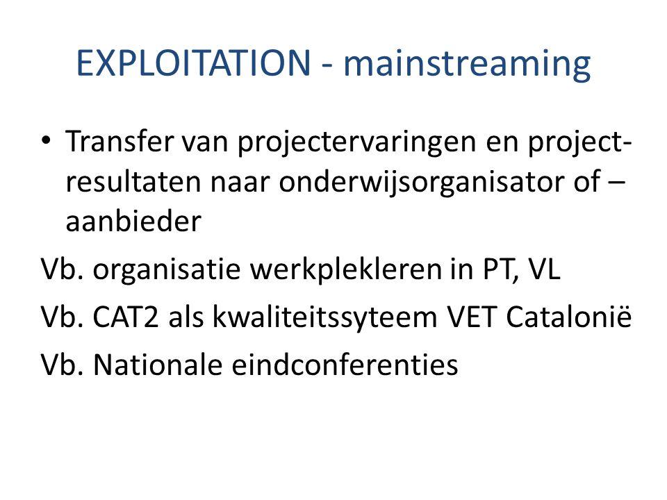 EXPLOITATION - mainstreaming Transfer van projectervaringen en project- resultaten naar onderwijsorganisator of – aanbieder Vb. organisatie werkplekle
