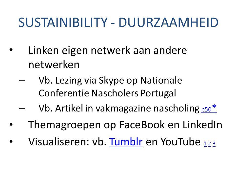 SUSTAINIBILITY - DUURZAAMHEID Linken eigen netwerk aan andere netwerken – Vb. Lezing via Skype op Nationale Conferentie Nascholers Portugal – Vb. Arti