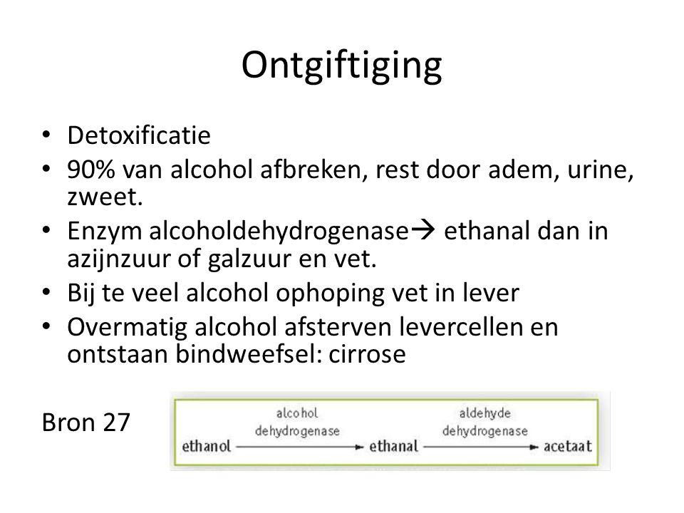 Ontgiftiging Detoxificatie 90% van alcohol afbreken, rest door adem, urine, zweet. Enzym alcoholdehydrogenase  ethanal dan in azijnzuur of galzuur en