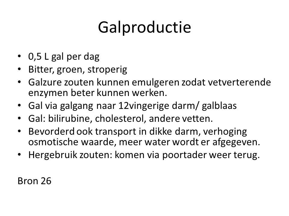 Galproductie 0,5 L gal per dag Bitter, groen, stroperig Galzure zouten kunnen emulgeren zodat vetverterende enzymen beter kunnen werken. Gal via galga