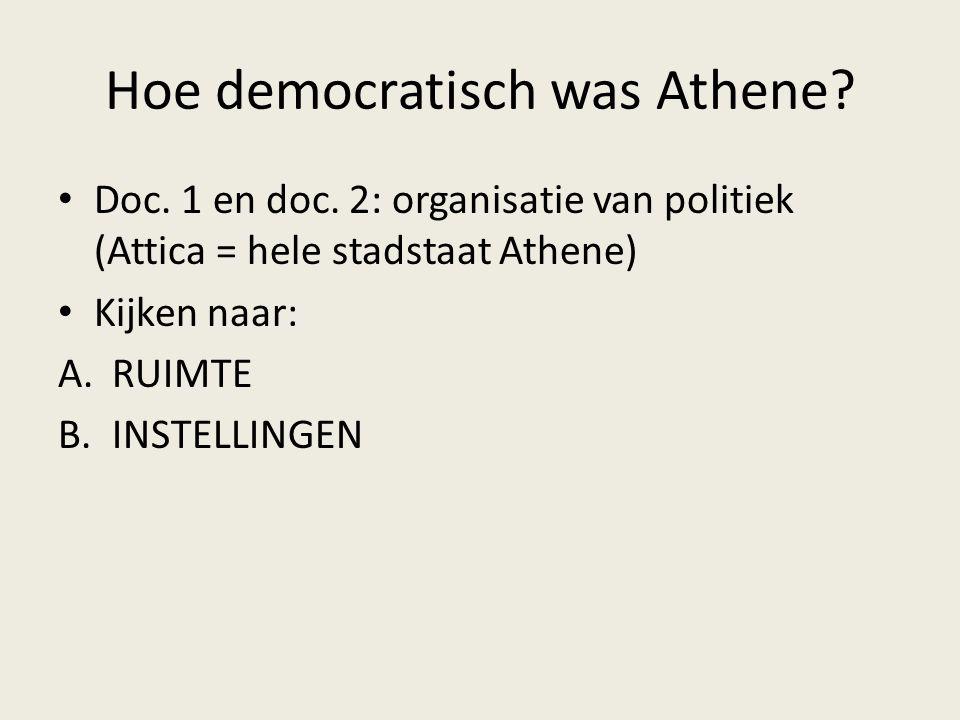 Hoe democratisch was Athene? Doc. 1 en doc. 2: organisatie van politiek (Attica = hele stadstaat Athene) Kijken naar: A.RUIMTE B.INSTELLINGEN