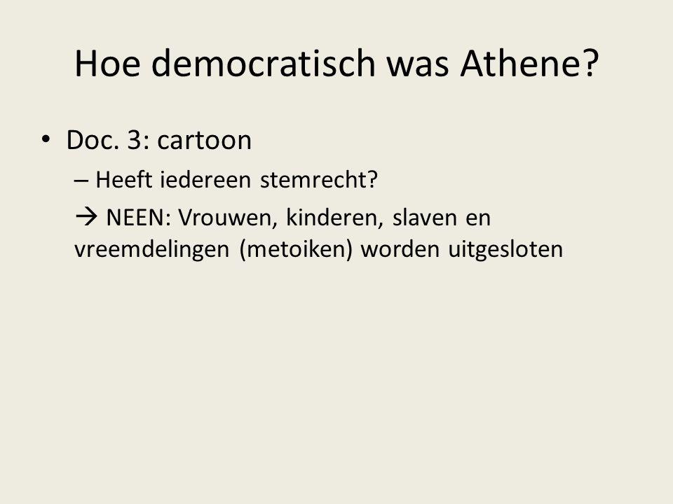 Hoe democratisch was Athene? Doc. 3: cartoon – Heeft iedereen stemrecht?  NEEN: Vrouwen, kinderen, slaven en vreemdelingen (metoiken) worden uitgeslo