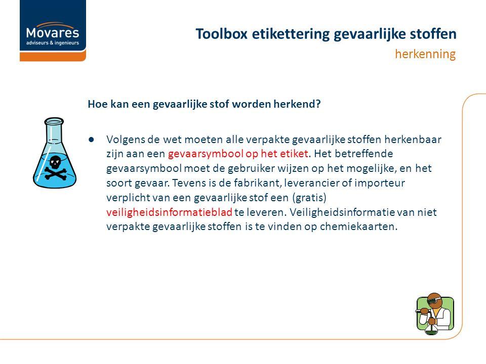 Toolbox etikettering gevaarlijke stoffen Hoe kan een gevaarlijke stof worden herkend.