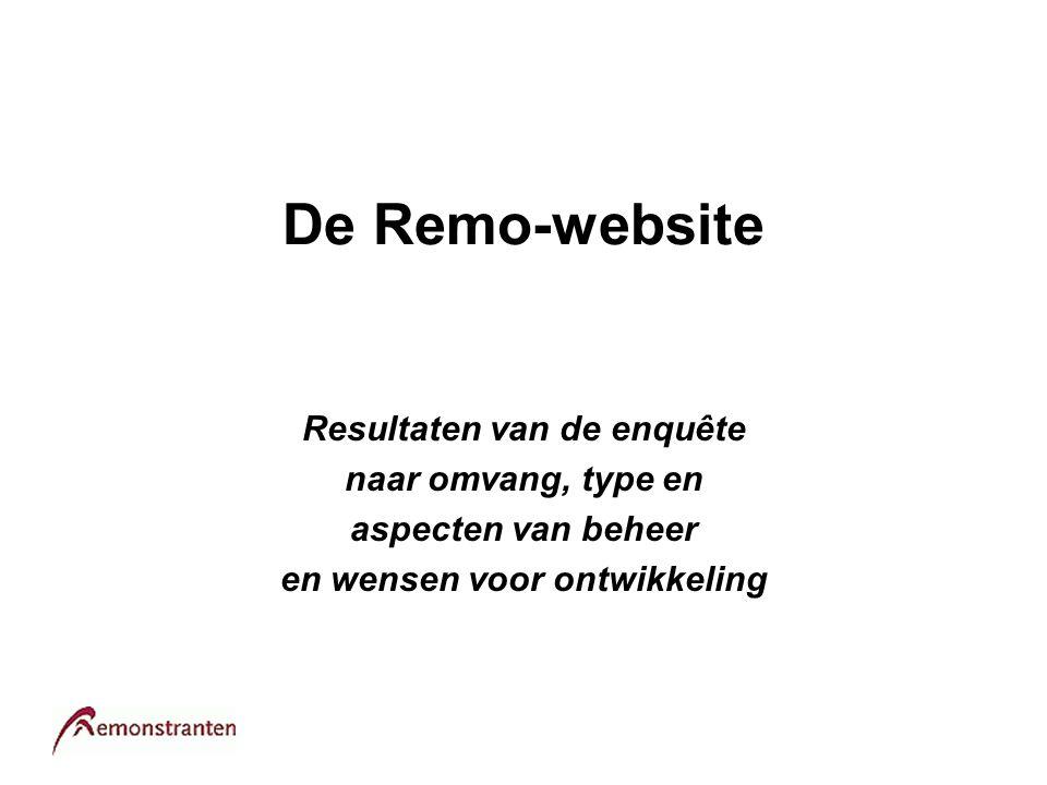 De Remo-website Resultaten van de enquête naar omvang, type en aspecten van beheer en wensen voor ontwikkeling