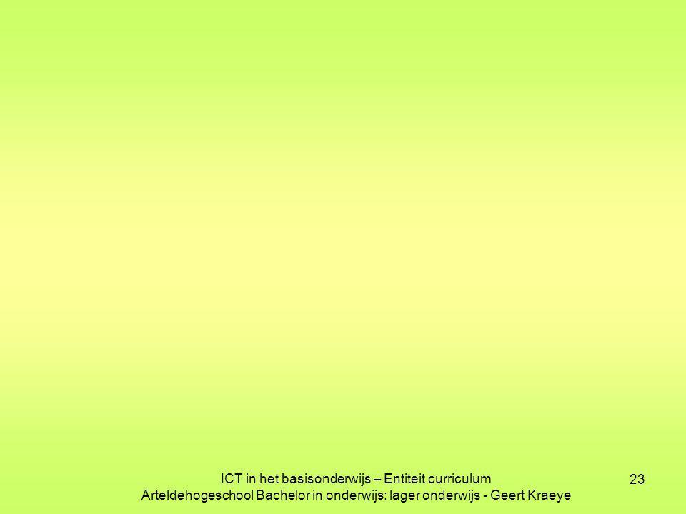 23 ICT in het basisonderwijs – Entiteit curriculum Arteldehogeschool Bachelor in onderwijs: lager onderwijs - Geert Kraeye