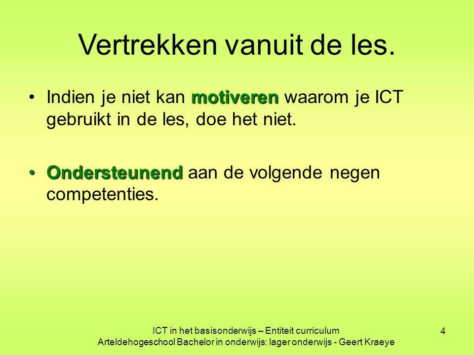 4 Vertrekken vanuit de les. motiverenIndien je niet kan motiveren waarom je ICT gebruikt in de les, doe het niet. OndersteunendOndersteunend aan de vo
