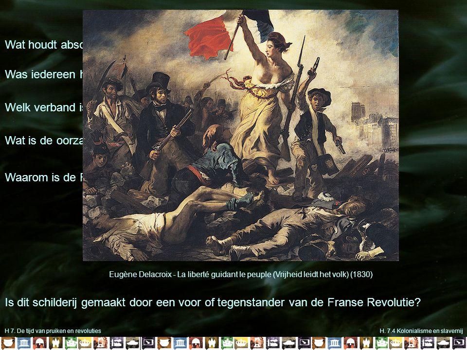 H 7. De tijd van pruiken en revolutiesH. 7.4 Kolonialisme en slavernij Wat houdt absolutisme in? Was iedereen het eens met het absolutisme? Welk verba