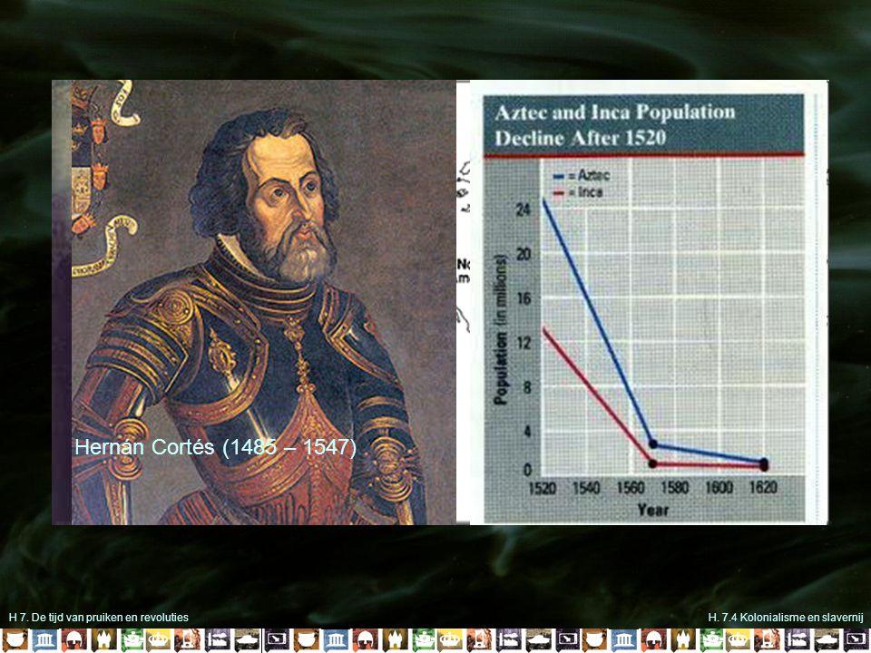 H 7. De tijd van pruiken en revolutiesH. 7.4 Kolonialisme en slavernij 1499 Christoffel Columbus (1451-1506) 1492 Hernán Cortés (1485 – 1547)