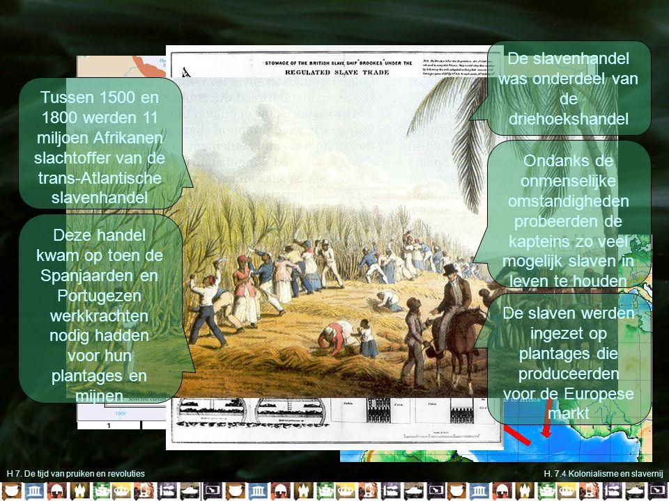 H 7. De tijd van pruiken en revolutiesH. 7.4 Kolonialisme en slavernij Tussen 1500 en 1800 werden 11 miljoen Afrikanen slachtoffer van de trans-Atlant