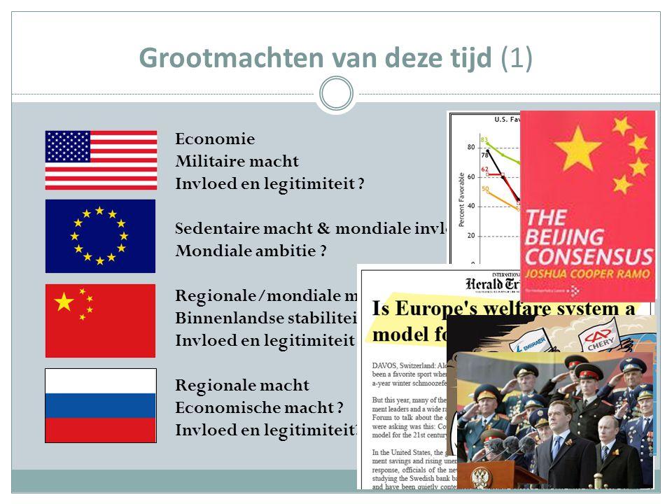 Grootmachten van deze tijd (1) Economie Militaire macht Invloed en legitimiteit .