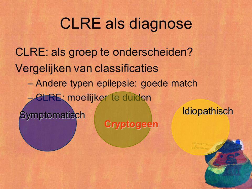 CLRE: als groep te onderscheiden? Vergelijken van classificaties –Andere typen epilepsie: goede match –CLRE: moeilijker te duiden CLRE als diagnose Sy