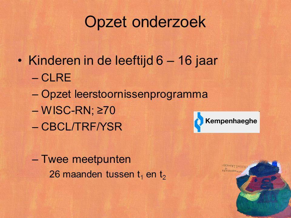 Opzet onderzoek Kinderen in de leeftijd 6 – 16 jaar –CLRE –Opzet leerstoornissenprogramma –WISC-RN; ≥70 –CBCL/TRF/YSR –Twee meetpunten 26 maanden tuss