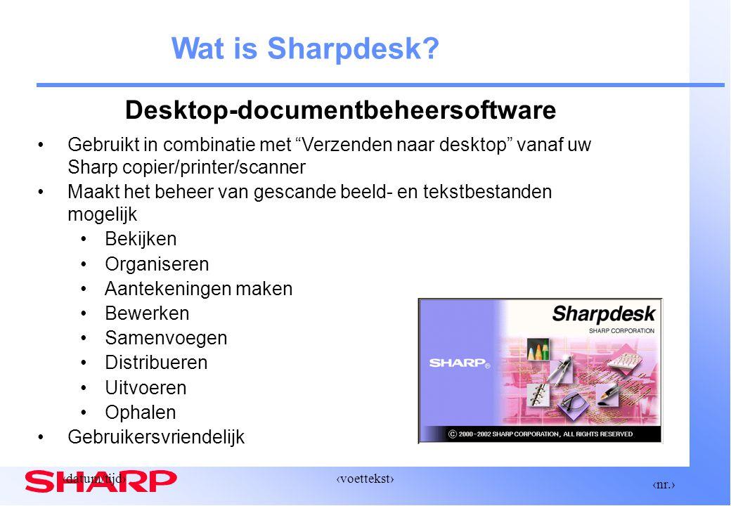 ‹nr.› ‹datum/tijd›‹voettekst› Sharpdesk: Desktop-elementen InvoerenOpslaanBekijken Bewerken Samenstellen Uitvoeren